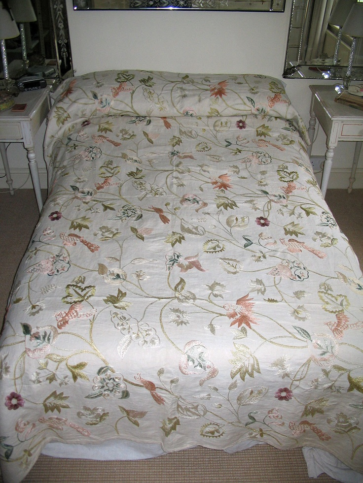 glorious antique vintage hand embroidered bed cover or shabby chic large curtain