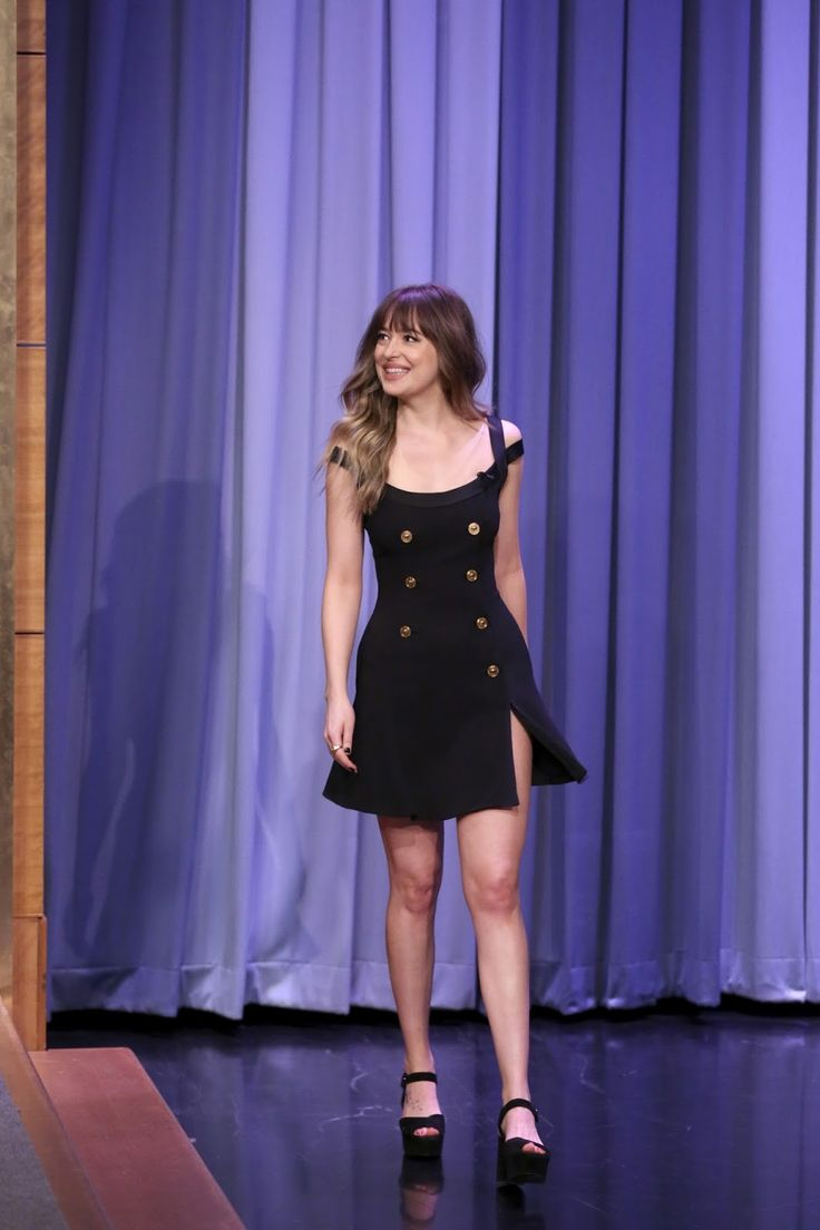 "She looks so adorable in that dress!  Dakota Johnson on ""The Tonight Show Starring Jimmy Fallon""  #DakotaJohnson  Cr. @DakotaDJohnson"