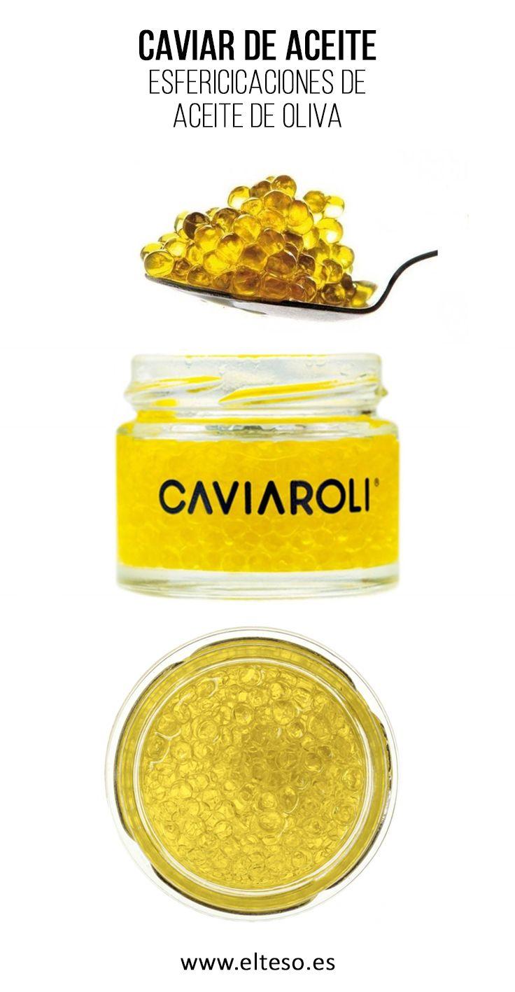 CAVIAROLI, ESFERIFICACIONES DE ACEITE DE OLIVA VIRGEN EXTRA Un producto que sorprende y se utiliza para terminaciones en sustitución al aceite de oliva en crudo, especialmente en sopas frías, con ostras, sardinas y anchoas, sushi, canapés, ahumados, ensalada caprese ... ¡incluso con chocolate!.