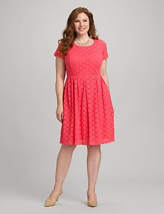 Coral Lace Dress, perfect for warmer weather, pair with a cardi and boots until then.  plus size, Dress Barn