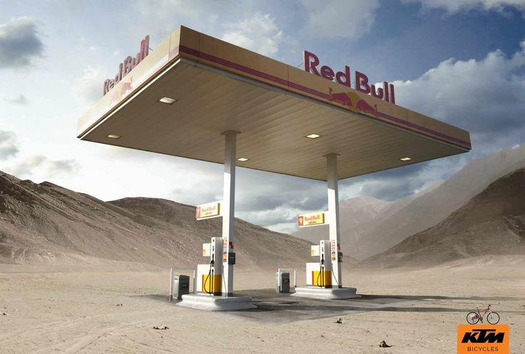 KTM Bicycles and Red Bull Ad makes a strong visual statement that's powerful and immediate. #content #ads