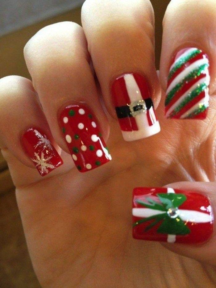 Manucure de Noel ongle de Noel facile a faire