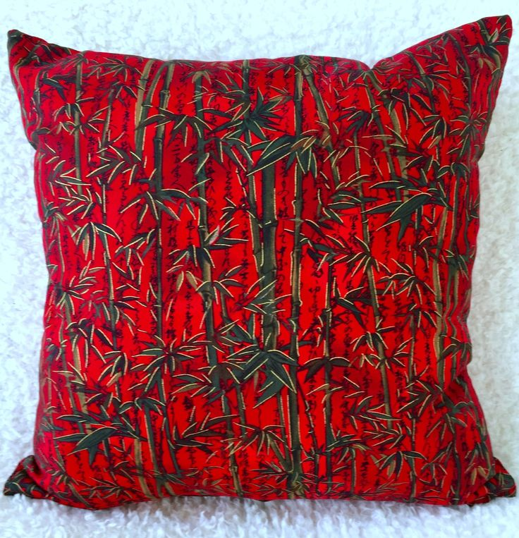 Red Bamboo Cushion Cover, Red Cushion Cover, Brown Cushion Cover, Living Room, Conservatory, Housewarming Gift, Birthday Gift by C4Cushions on Etsy