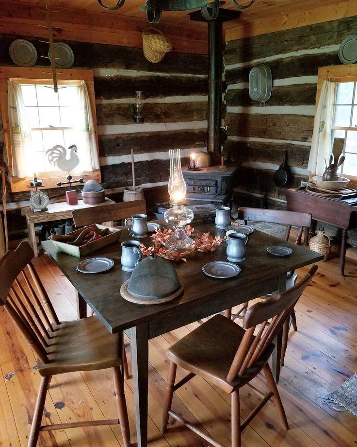Farmhouse log cabin decor. #farmhouse #logcabin #antique #primitives