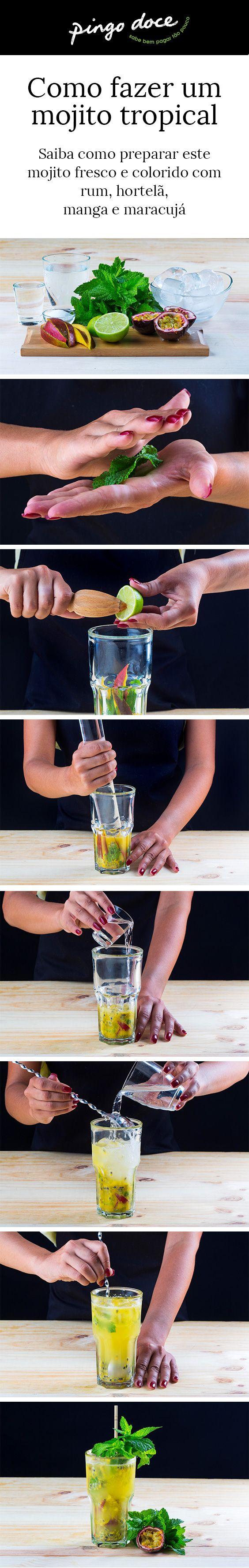 O rum e a hortelã são a base deste cocktail exótico. Os sabores da manga e do maracujá dão-lhe um toque verdadeiramente tropical.