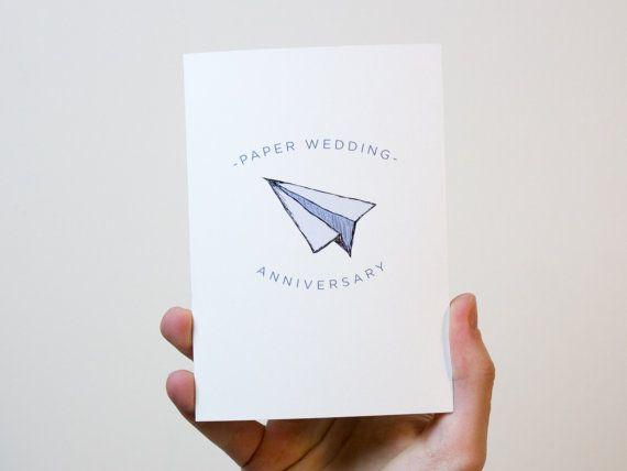 Paper Wedding Anniversary Card  1 Year Wedding by FreckleandSpecs