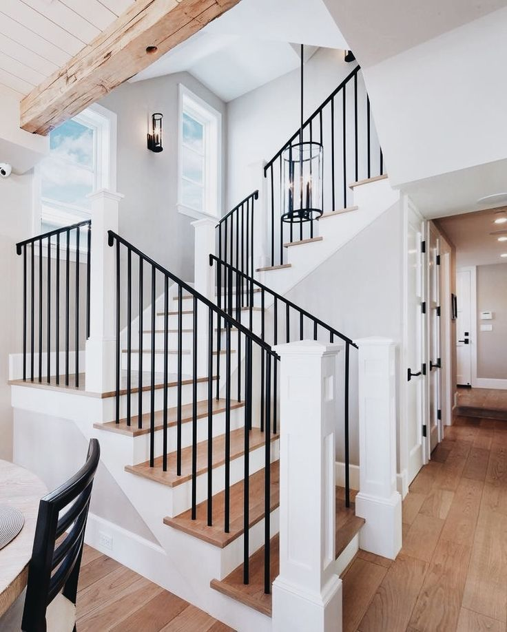 I like the way these stairs are layed out, the three platforms between the stairs, but the style is a little more modern then I would pick.