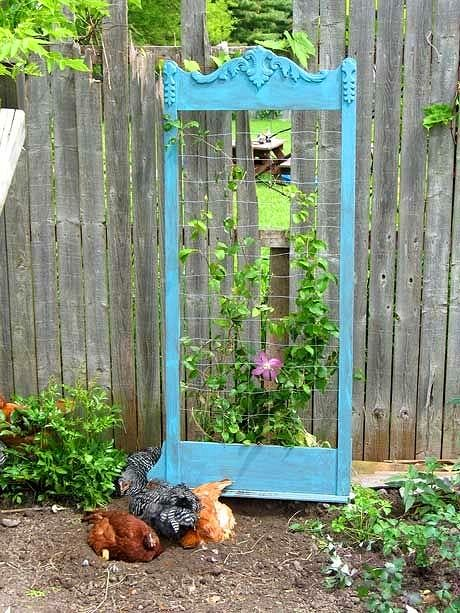 DIY mirror frame trellis Dishfunctional Designs: The Upcycled Garden Volume 7: Using Recycled Salvaged Materials In Your Garden