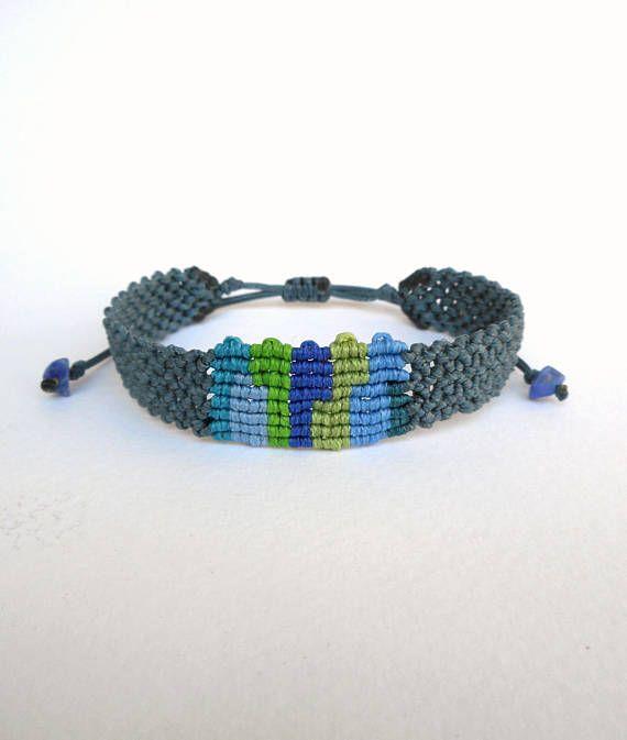 Macrame cuff Gray blue Mens band bracelet Woven cuff