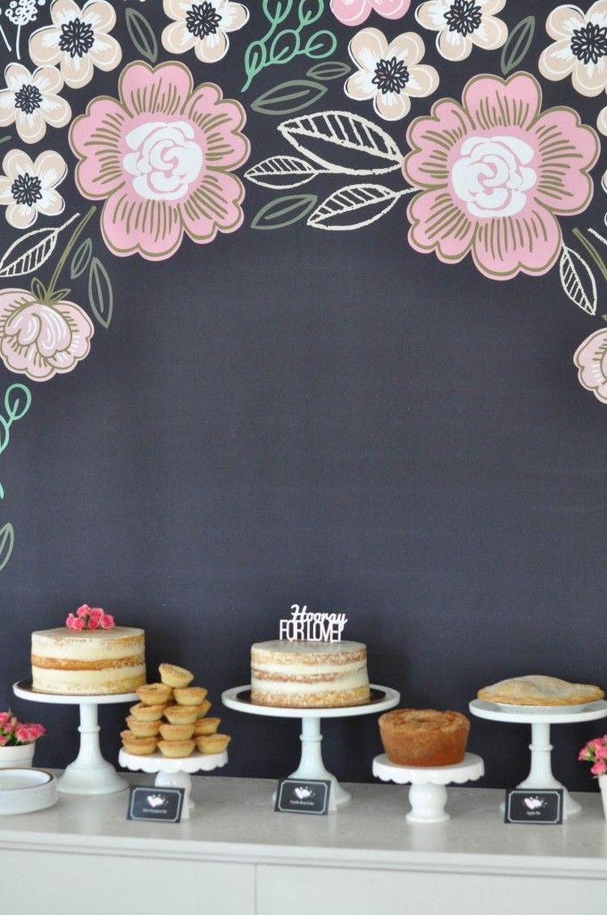 Bridal shower decor idea - bridal shower dessert table with black backdrop + pink floral motif {Courtesy of Live the Fancy Life}