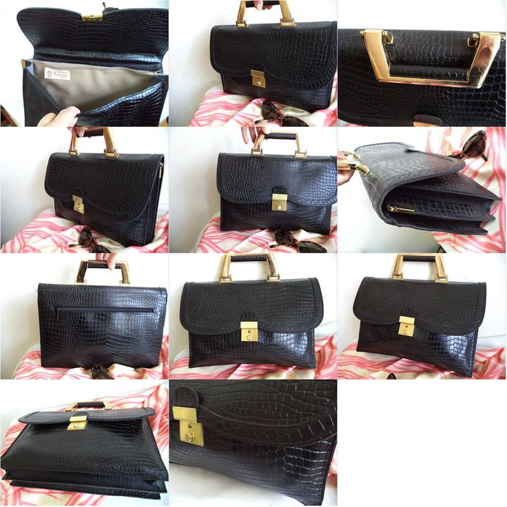 Vermillion ITALY black croc leather Briefcase tote Laptop Bag Purse Vintage gold Listing in the Handbags,Bags & Purses,Womens Accessories & Bags,Clothes, Shoes, Accessories Category on eBid Canada