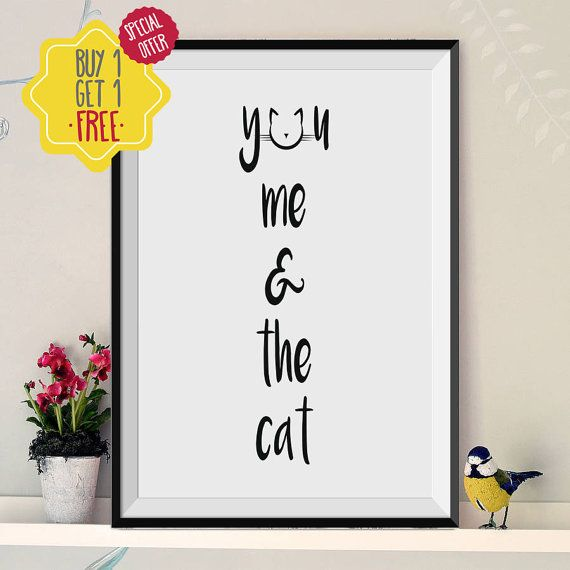 You me and the cat, Cat lover gift, Cat print, Couples gift,Animal print,Print at home, Typography print,Black and white,8 x 10 print,poster.  This listing is for an INSTANT DOWNLOAD of 2 JPEG files of this artwork. Just purchase the listing and your print is ready to download instantly. Why not print one for a friend, or just for fun?  Once you purchase the poster you will receive the following files:  - 1 JPEG high resolution (300 dpi) file with trim marks 8x10 inches. - 1 JPEG high…