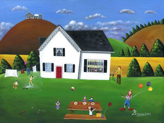 """""""Hilly Happy Birthday"""" Original 18x24 Summer Folk Art Acrylic Painting by treehugginlovin"""