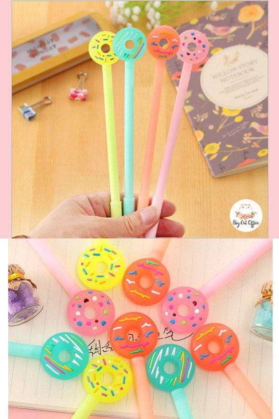 """1 """"pen"""" Neon Donut Gel Pens for kids, Cute pens set, Cute Stationery for kids, Planner Pens Kids School Supplies Cute Pen Kawaii Stationery"""