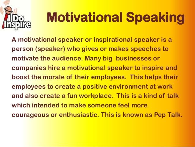 sample inspirational speech Filipino motivational speaker in the philippines lloyd luna is a popular speaker and trainer based in manila his inspirational speeches, training, and talks have motivated more than half a million people in asia.