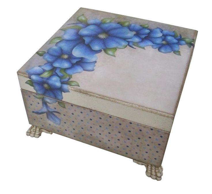Porta jóias Flores Azuis | Bragatto Atelier | Elo7                                                                                                                                                                                 Mais