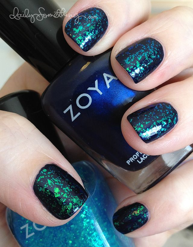 Zoya Fleck Effects Maisie layered over Zoya Ibiza nailpolish