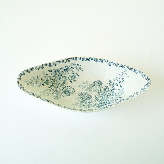 Small Antique Faience Transferware Oval Dish Digoin Sarreguemines - Shabby chic - Country home