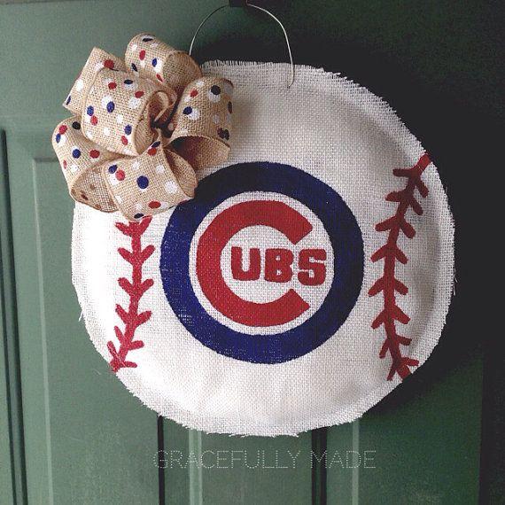MADE TO ORDER - Chicago Cubs Burlap Baseball - Baseball Wreath - Burlap door Hanger