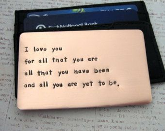 Copper Wallet Insert Card - Personalized Hand Stamped Metal - Gift Husband Boyfriend 7 Seven Year Anniversary