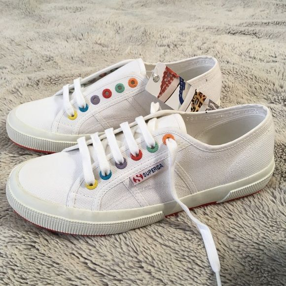 cd47dfb999f3 Superga Shoes - Superga Colorey Cotu Rainbow White Canvas Sneakers ...