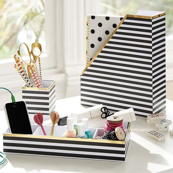 Printed Desk Accessories- Black/White Stripe With Gold Trim | PBteen