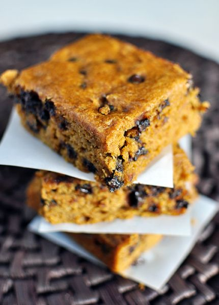 Pumpkin Blondies with Chocolate Chips probably a duplicate pin, but I ...