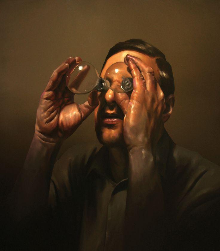 "Radu Belcin ""Trying to Catch the Sun"", oil on canvas. At Oxholm Gallery in Copenhagen in March 2014."