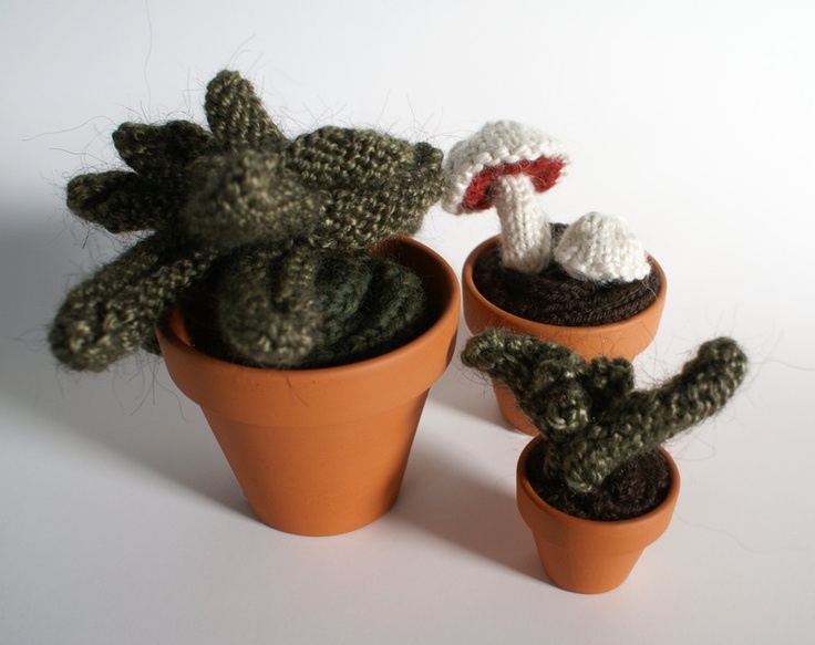 Knitted Plant Set of Three: Mini Mushrooms, Seedling, Asymmetrical Plant. $90.00, via Etsy.