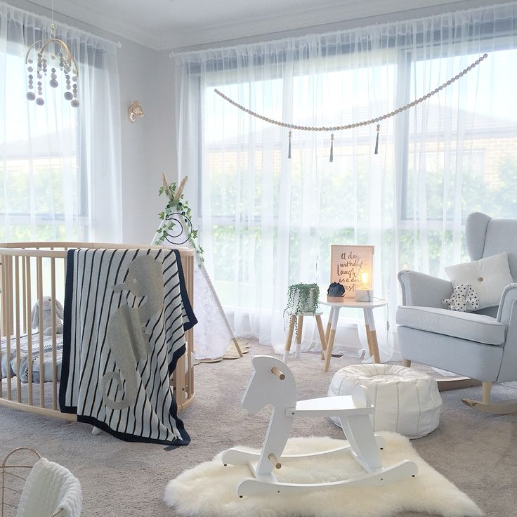 My Nursery complete with IKEA chair and handmade rocking legs, stokke baby cot and lace tee pee