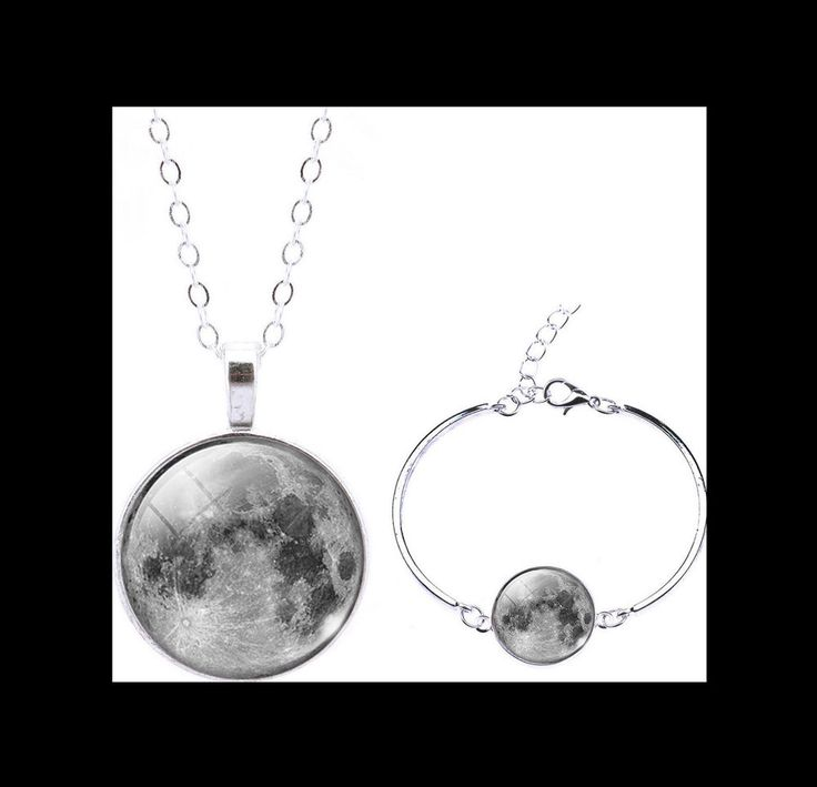 NEW - MOON GALAXY UNIVERSE SI FI SILVER GLASS CABOCHON NECKLACE & BRACELET SET