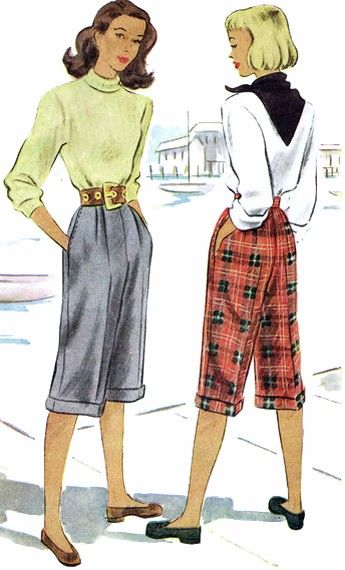 1940s Pedal Pushers Knee Slacks Pants McCall 6791 Vintage Sewing Pattern