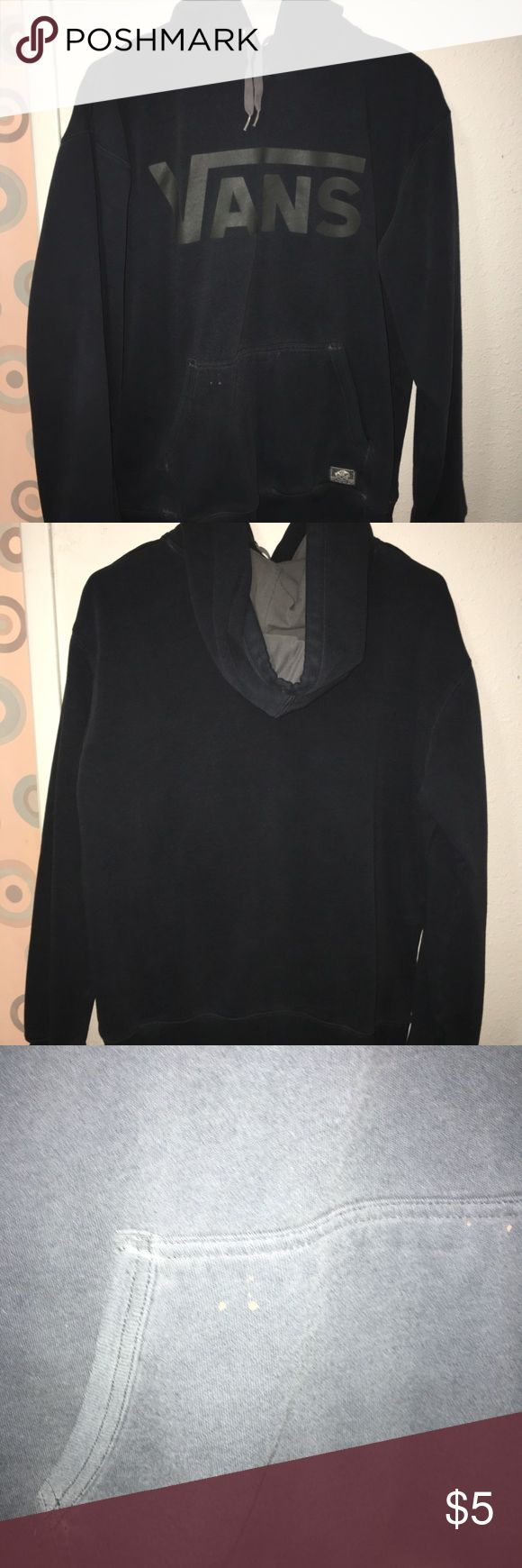 Vans black sweater Classic black vans sweater. Had a small black stain on the pocket. Vans Sweaters Crewneck