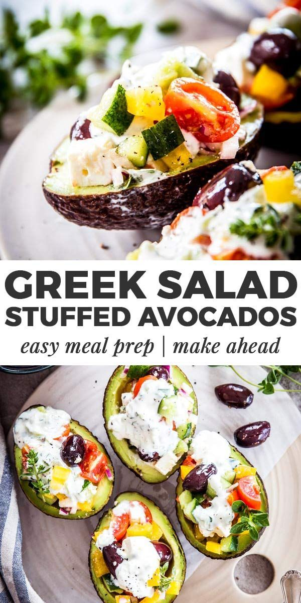 These healthy chopped greek salad stuffed avocados are a great summer treat for …