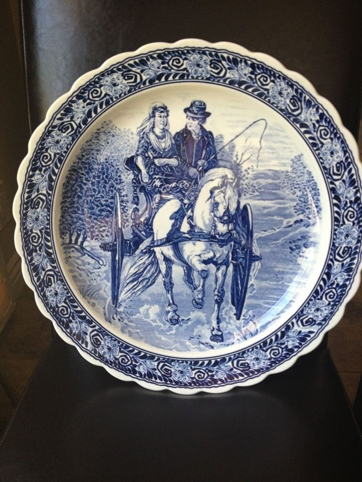 """Blue White Wall Charger Platter Plate Man Woman Horse Carriage Ride Large 16"""""""