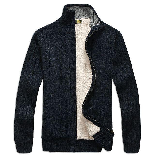 Hombres suéteres de manga larga Casual chaqueta de punto grueso tejer prendas de vestir exteriores abrigo de invierno para mans