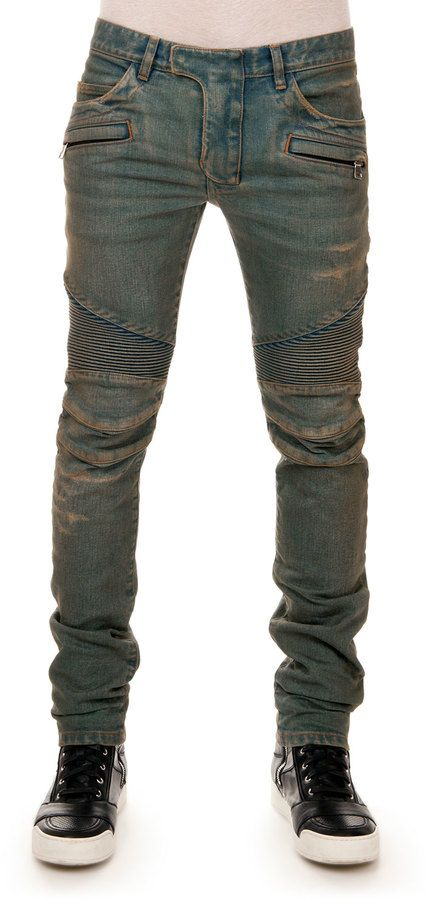 Balmain Distressed Biker Denim Jeans, Blue