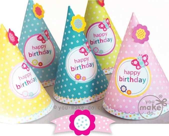 Party printables to make your own birthday party hats