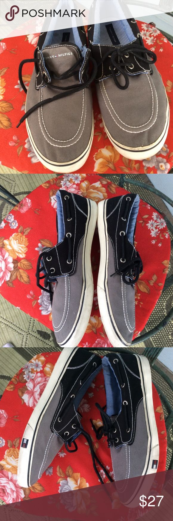 Tommy Hilfiger Grey 'n Black Boat Shoes In immaculate condition.  Bottom of soles are a little dirty. Very little wear on the heels.  No tears,rips or stains. Tommy Hilfiger Shoes Boat Shoes