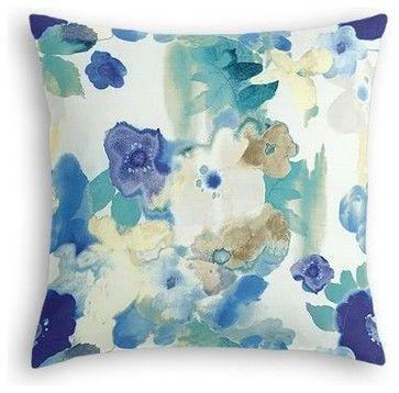 Blue & Aqua Watercolor Floral Custom Euro Sham contemporary-shams