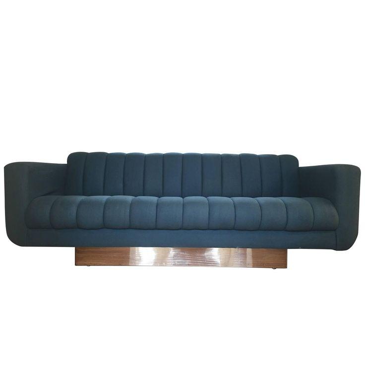 Chrome Plinth Chanelled Sofa, Style of Milo Baughman | 1stdibs.com