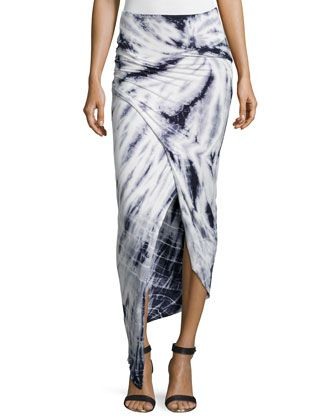 Tie-Dye Wrap Maxi Skirt, Gray/White by Young Fabulous and Broke at Neiman Marcus Last Call.