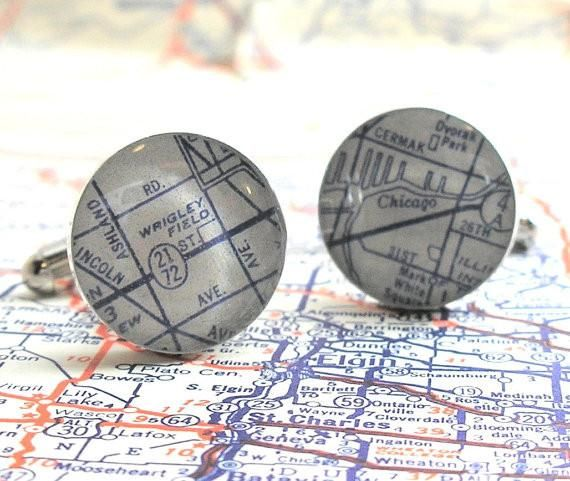 """Dress up your favorite Cubs fan with this new version of DLK Designs popular Wrigley Field sterling cufflinks. Round of each cufflink measures .60""""d and is sterling silver. Map is preserved under a ma"""