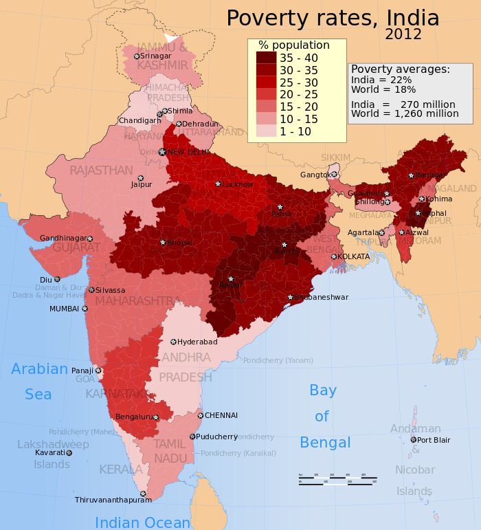 Poverty in India. In 2012, the Indian government stated 21.9% of its population is below its official poverty limit. - Wikipedia, the free encyclopedia