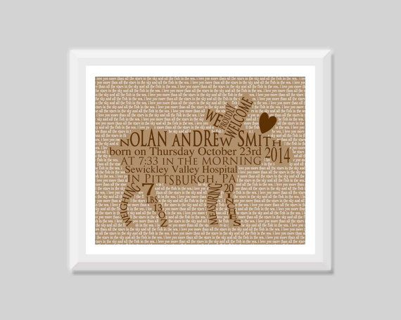 Unique moose birth announcement wall art print by SweetPapelDesigns highlighting the baby birth stats of your little one or a loved one - great moose or woodland nursery art or unique baby gift!  Colors customizable for boy or girl.