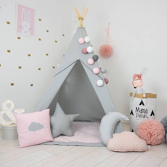Grey Teepee – Pink Teepee – Princess Teepee – Princess Bedroom – Princess Playroom – Childrens Teepee – Childrens Wigwam – Reading Lamp
