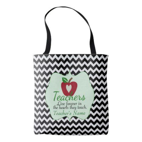 Personalized Teacher Tote Bag #chevron #pattern #accessories