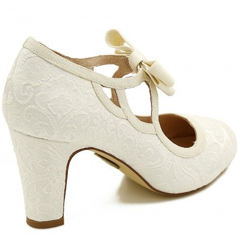 Mandi by The Perfect Bridal Shoe Company Vintage Ivory Brocade Mary Jane Wedding or Occasion Shoes