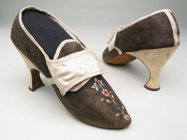 Shoes   England   1785-1795   suede, satin, silk, kid   Manchester Art Gallery   Accession #: 1956.319