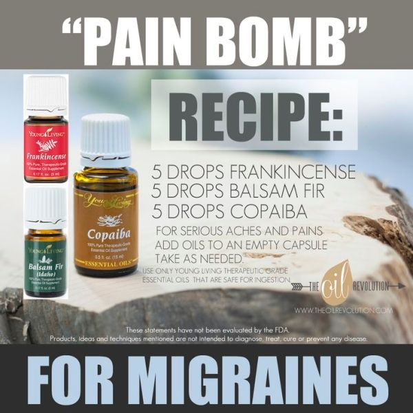 Pain bomb recipe for migraines using essential oils. Amazing story of Young Living oils stopping a migraine in it's tracks. by lorene
